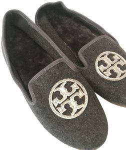 Tory Burch Slipper Charcoal Silver Gift Grey/ Silver Flats