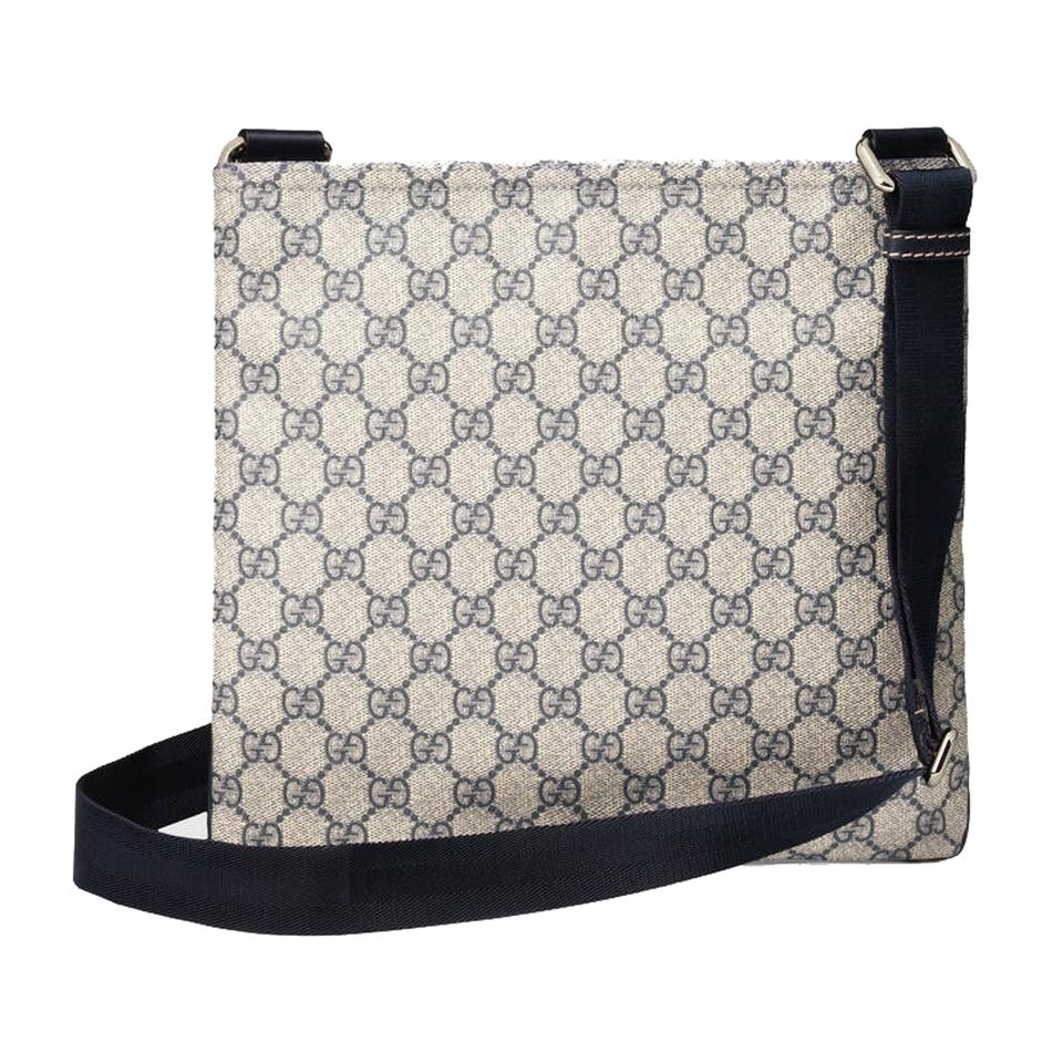 fd8b390533c8 Gucci Supreme and Leather Crossbody Navy Blue Canvas Messenger Bag ...