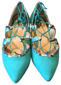 Brian Atwood Teal Suede Flats