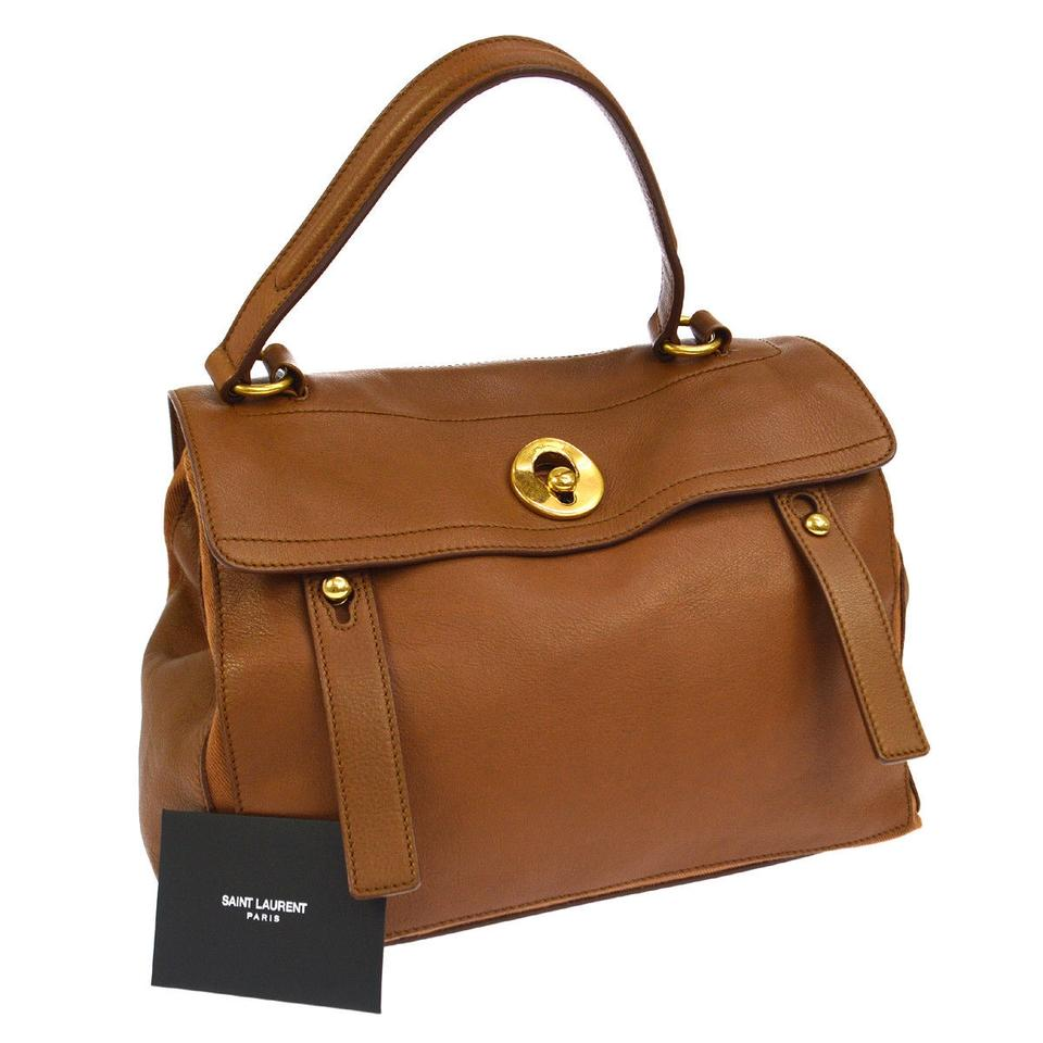 bff6a01cf5bc4 Saint Laurent Muse Two Ysl Brown Tan Leather Shoulder Bag - Tradesy