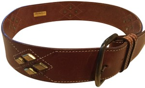 Saks Fifth Avenue Saks Fifth Avenue Brown Leather Gold Embellished Womans Belt Italy