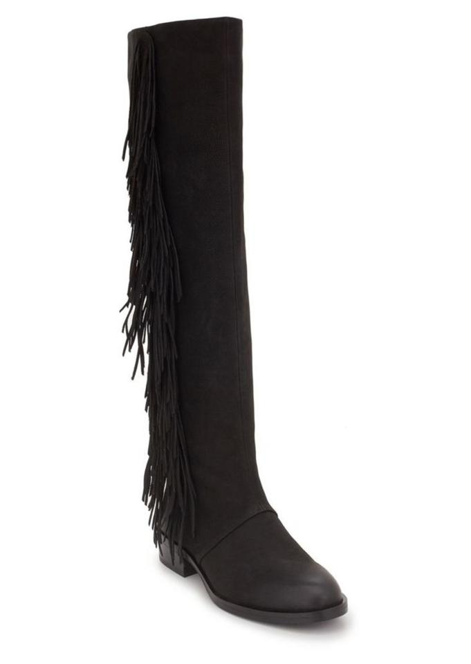 c848cfe4c0d85 Sam Edelman Black New Josephine Leather Fringe Knee High Boots Booties Size  US 6.5 Regular (M