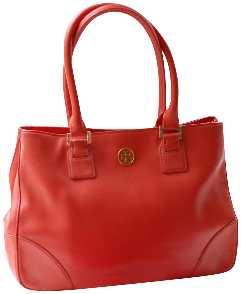 b9878e969adf Tory Burch Robinson East West Tote Coral Saffiano Leather Satchel ...