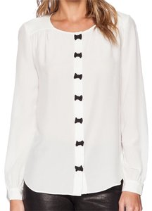 Kate Spade Top white with small black bows at the buttons