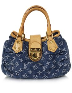 Louis Vuitton Denim Monogram Small Tote in blue