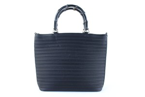 Gucci Quilted Bamboo Wave Line Stripe Tote in Black