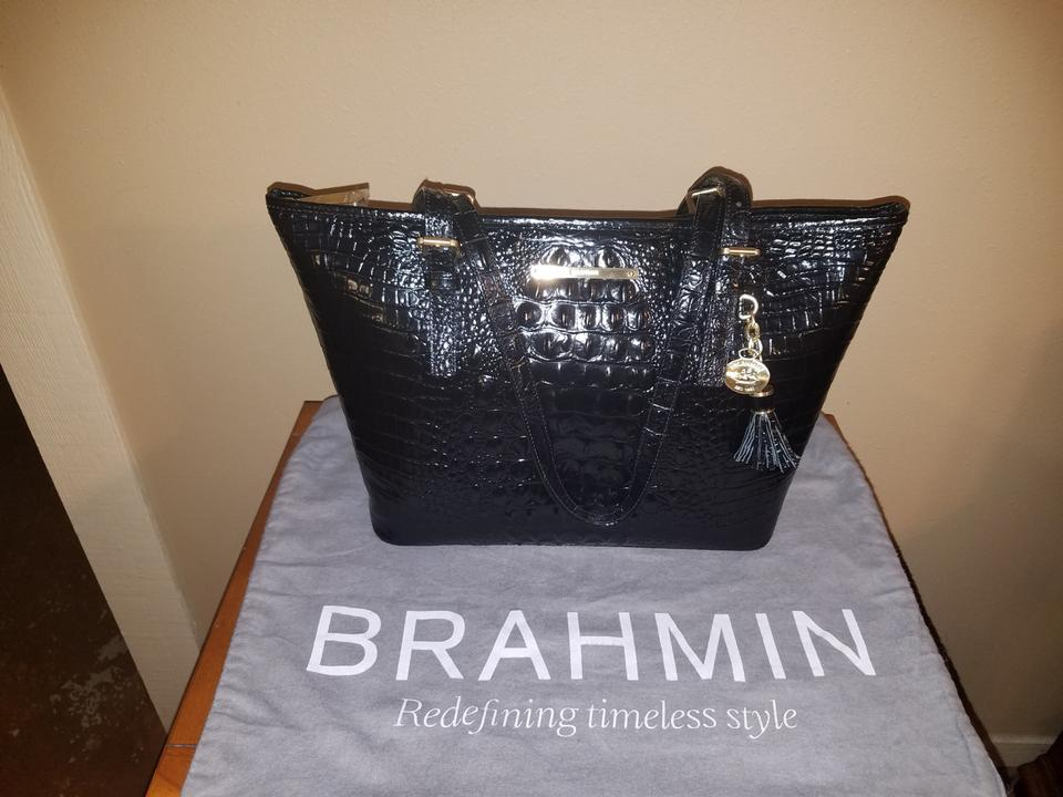c576b0f02 Brahmin Melbourne Medium Asher Ink Leather Tote - Tradesy