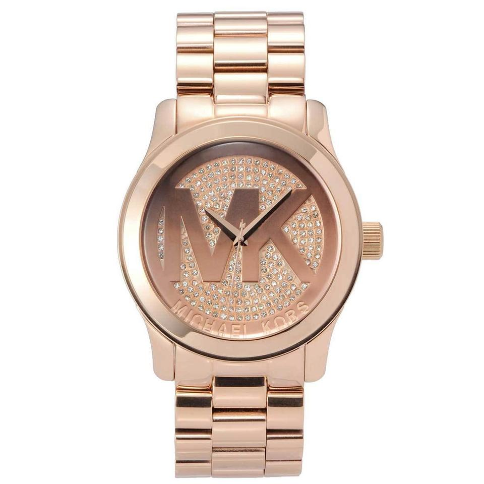 53722227ca2b Michael Kors BRAND NEW Runway Rose Gold Stainless Pave Crystal Watch MK5661  Image 0 ...
