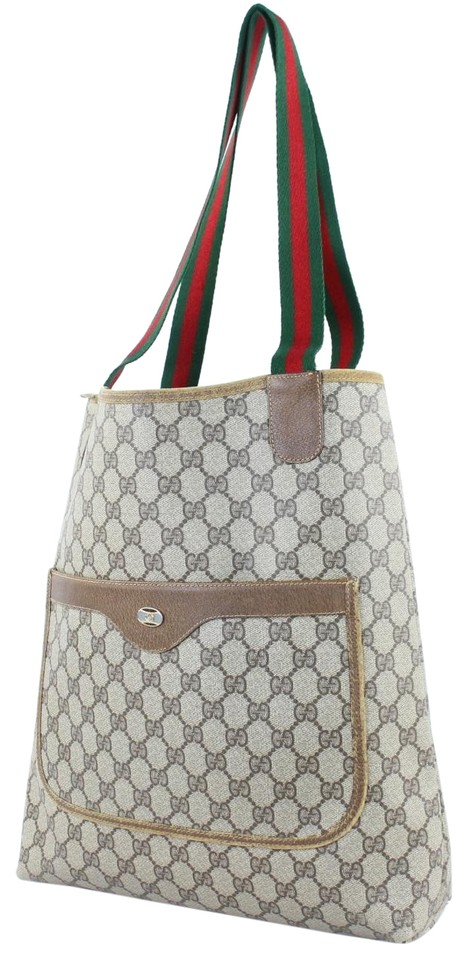 86954628eb47 Gucci Tote With Red And Green Strap. Gucci Vintage /designer Shades Of Brown  Coated Canvas/leather ...