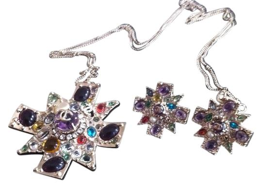 Preload https://img-static.tradesy.com/item/2243714/chanel-silver-multicolor-gripoix-maltese-cross-necklaceearings-necklace-0-0-540-540.jpg