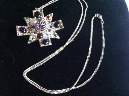 Chanel Chanel Multicolor Gripoix Maltese Cross Necklace/Earings
