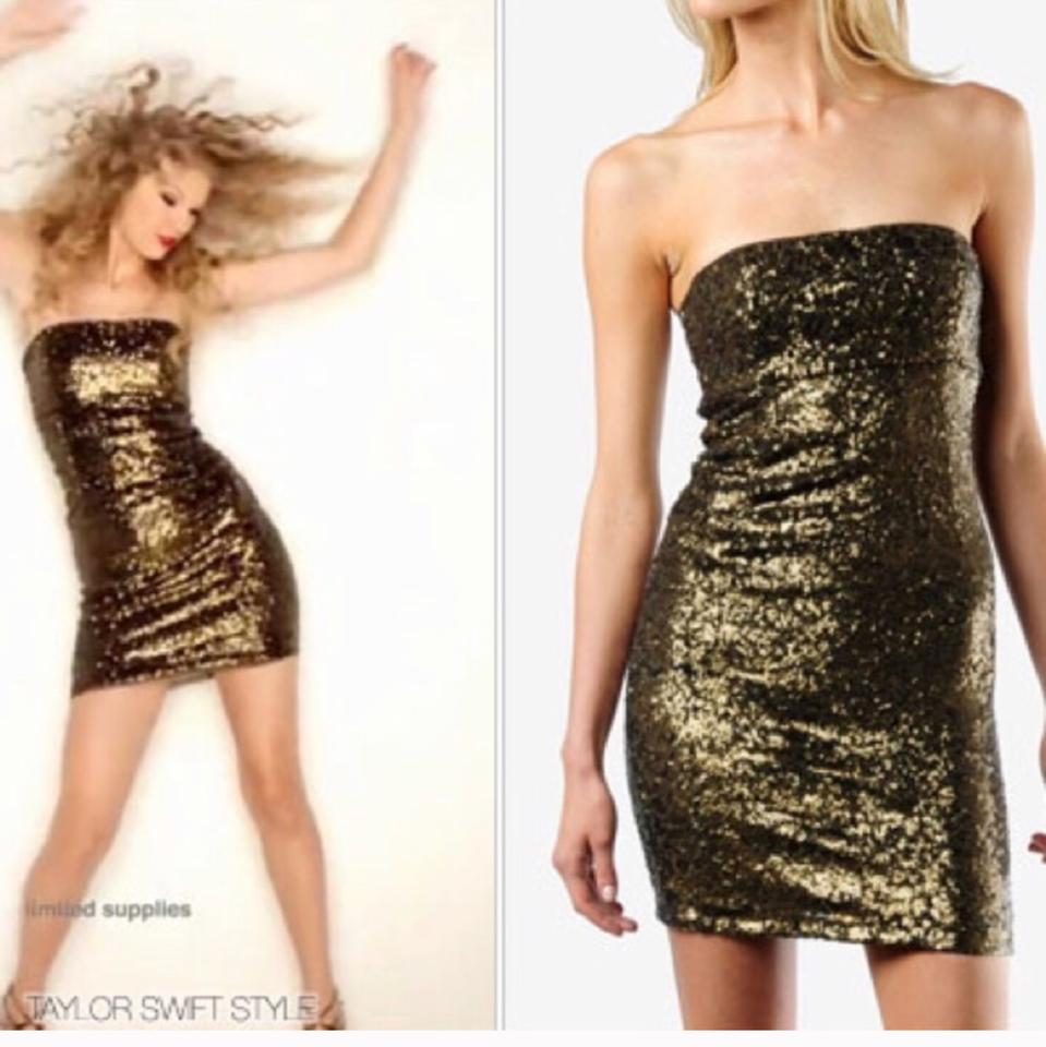 Alice + Olivia Multi Color Gold Taylor Swift Sequin Short Cocktail ...