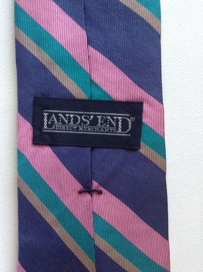 "Lands' End Lands End Striped Neck Tie. Purple Pink Teal Long Skinny 100% Silk Tie 3 1/4"" wide and 60"" Long"