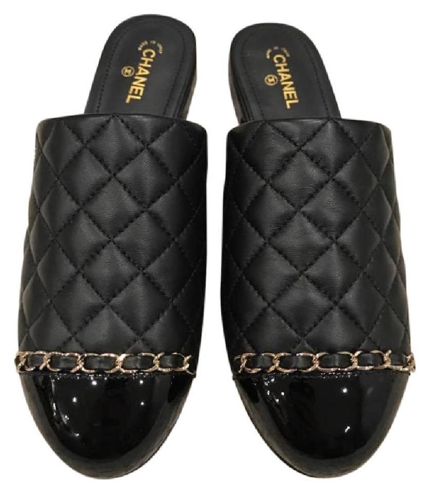 c1420ab2db20 Chanel Black 17p Quilted Leather Cc Patent Chain Mule Slide Oxford Flats