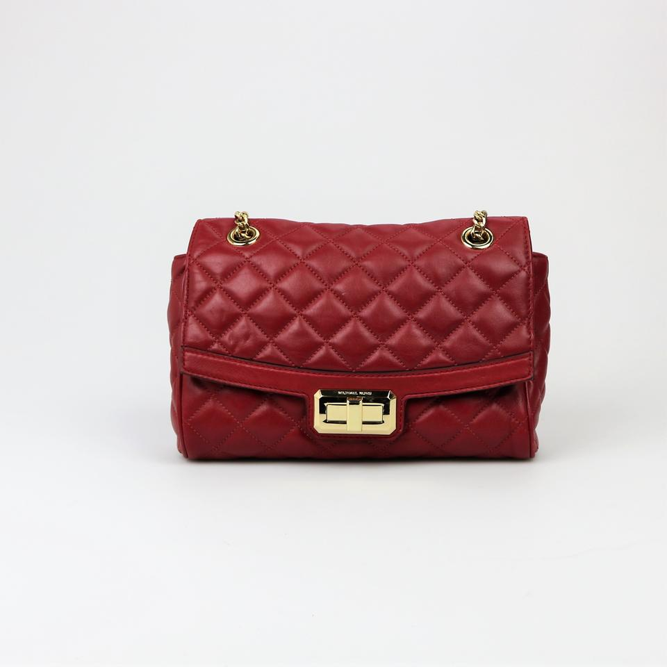 3112c3710846 Michael Kors Red Turn Lock Quilted Top Handlle Front Flap Shoulder Bag  Image 0 ...