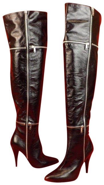 """Item - Black Patent Leather """"Fetish"""" 105 Zip Over The Knee Boots/Booties Size EU 36 (Approx. US 6) Regular (M, B)"""