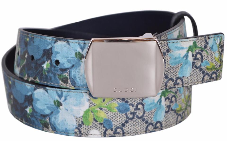 77d5fd99da2 Gucci Blue Multi New Men s 424674 Gg Supreme Canvas Blooms Buckle 38 Belt