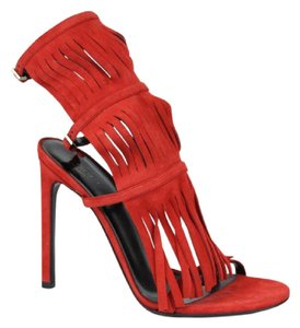 Gucci Fringe Suede Becky Gladiator Red Sandals