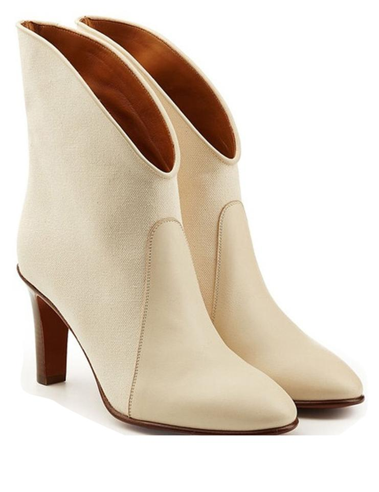 894d70dca2 Chloé White Kole Canvas and Leather Ankle Boots/Booties Size US 7.5 Regular  (M, B) 28% off retail