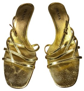 Prada Gold Metallic Sandals