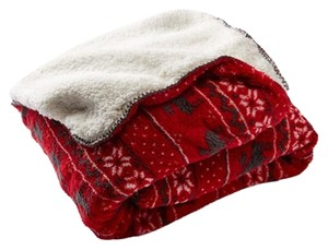 P.J. Salvage PJ SALVAGE Holiday Themed Double Sided Blanket, Brick, NWT
