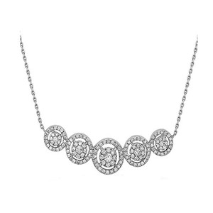 Crush & Fancy Martina - 18K White Gold Women's Diamond Necklace, Five Round center