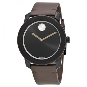 Movado Bold Black Sunray Dial Men's Brown Leather Watch