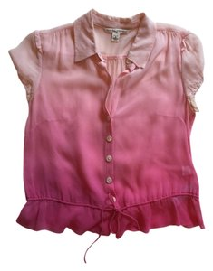 Banana Republic Silk Sheer Top Pink ombre