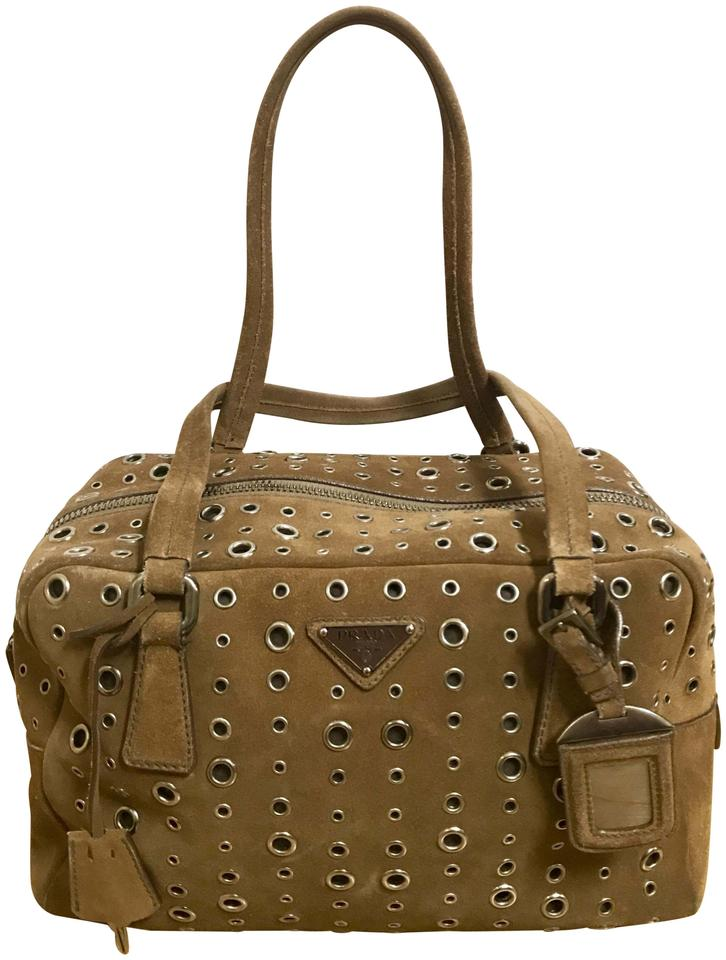 74b54b7e2802ee Prada Bauletto Bowler Eyelet with Padlock Key Cover 2 Keys and Name Tag  Brown Suede Leather Shoulder Bag