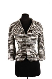 Chanel Wool Tweed Zipper Black Jacket