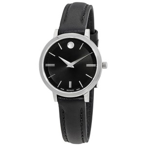 Movado Ultra Slim Black Dial Ladies Watch