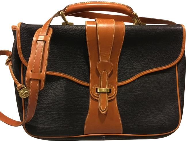 Item - Vintage Briefcase Equestrian Style Black Leather Laptop Bag