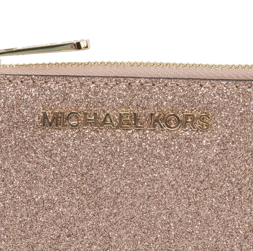 c2d5fbaaf263 ... Michael Kors Rose Gold Glitter Leather Jet Set Card Case Key Pouch  Wallet NWT.