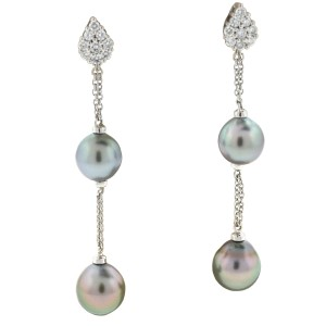 Damiani's Damiani Ninfea 18k White Tahitian Pearl & Diamonds Drop Earrings