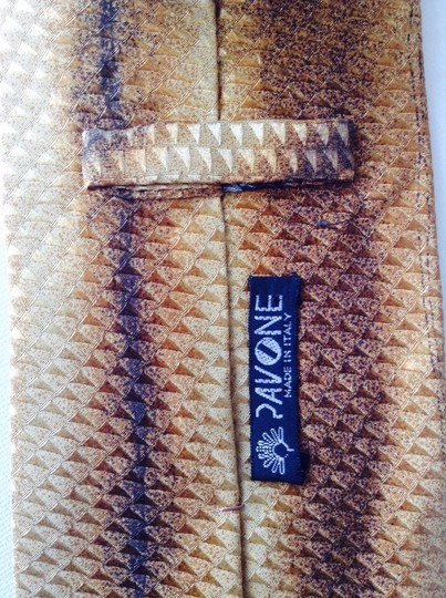 Pavone PAVONE Men's Gold Classic Neck tie Made in Italy NWOT 100% Silk 58 in. 3