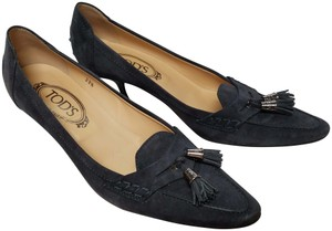 Tod's Kitten Heel Moccasin Tassel Charcoal Grey Suede Pumps