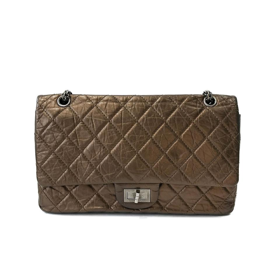 b994a4e1d147 Chanel Classic Flap 2.55 Reissue Quilted Classic Double (Size 227) Bronze  Calfskin Leather Shoulder Bag