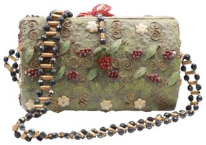 Mary Frances Vintage Beaded Floral Fruit Cross Body Bag