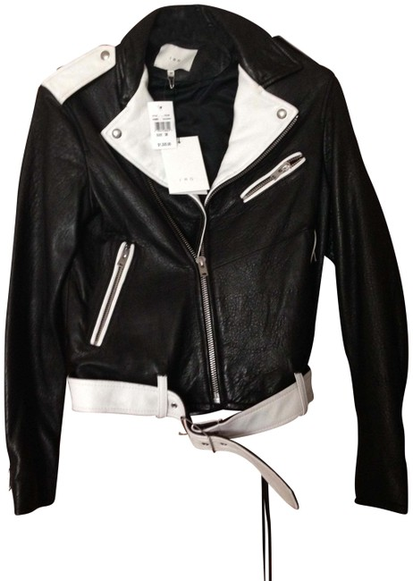 Item - Black and White New Leather Bomber From Neiman Marcus Jacket Size 6 (S)