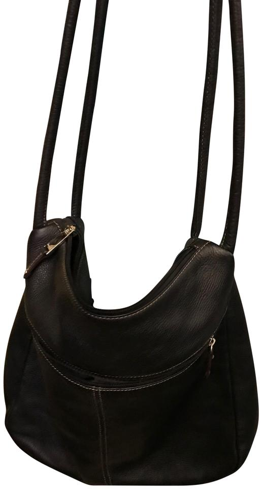 f6791d051da5 Tignanello All Black Leather Shoulder Bag - Tradesy