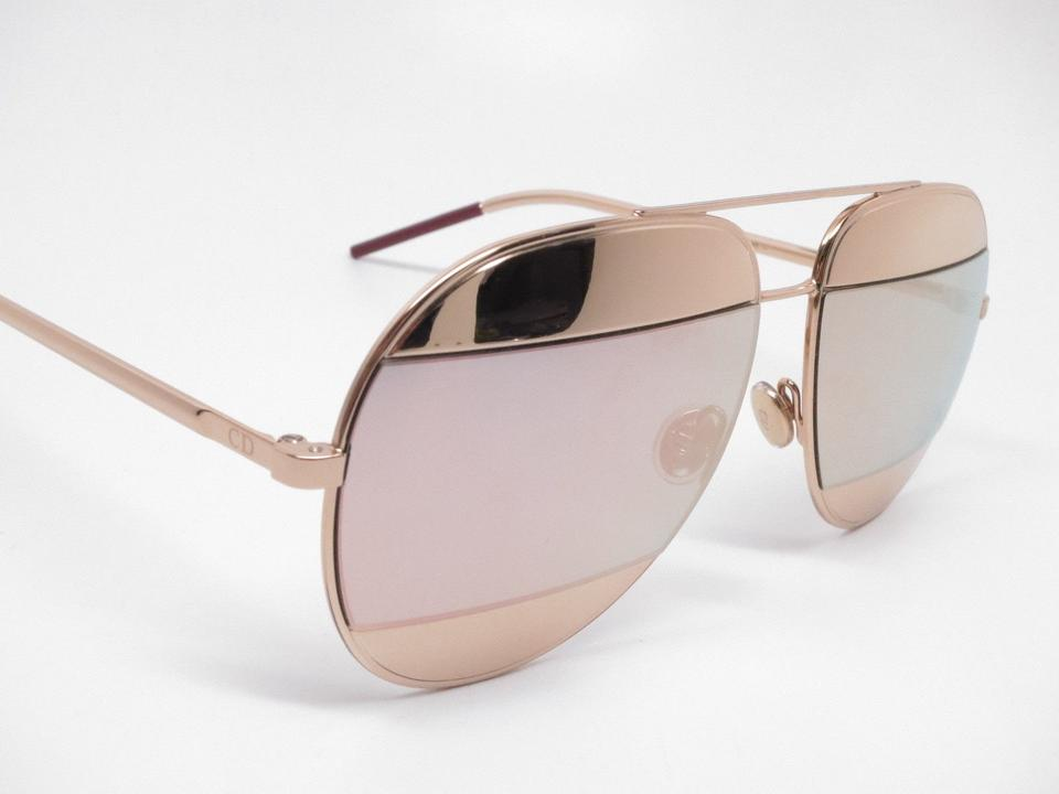 fc0c5a94ae4 Dior New Christian Dior Split 1 0000J Gold with Rose Gold Mirror Sunglasses  Image 6. 1234567