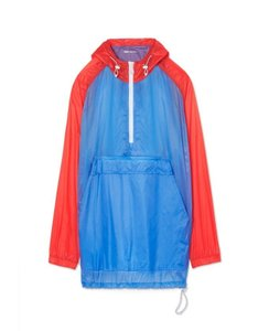 Tory Sport by Tory Burch TORY SPORT POPPY RED SUNNY BLUE LIGHT WEIGHT NYLON ANORAK SIZE M