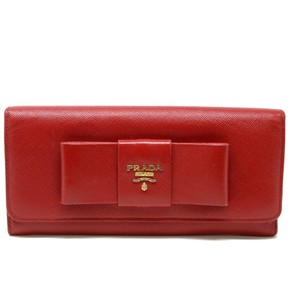 Prada Signature Red Saffiano Bow Continental Women's Logo Wallet
