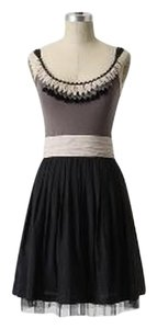 Anthropologie short dress Grey, Black, Ivory Chiffon Beaded Party Holiday on Tradesy