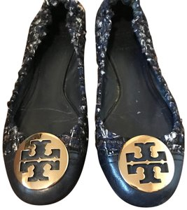 Tory Burch Tweed Ballet Leather Navy Flats