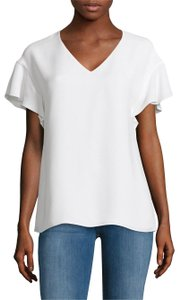 Lafayette 148 New York Silk Flutter Sleeve Top White