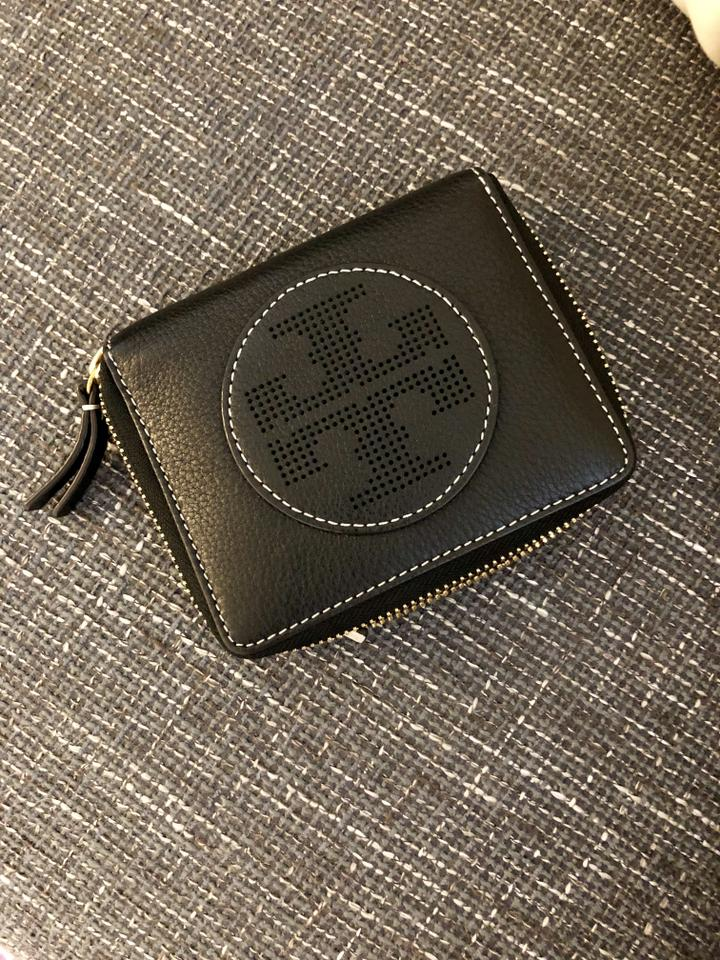 04d4a291 Tory Burch Black Perforated Logo Zip Medium Size Pebble Leather Wallet 45%  off retail