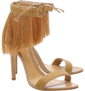 SCHUTZ Fringe High Heels Boranes Desert Tan Sandals
