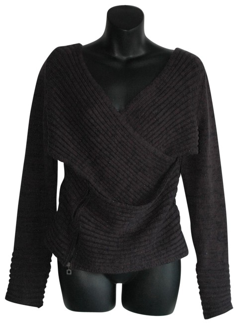 Item - Cut Off Ribbed Charcoal Wool Blend Stretch Gray Sweater