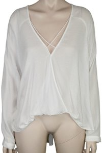 Silence + Noise Textured Argyle Flowy Long Sleeve Tapered Top WHITE